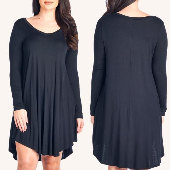 77a4d71e4955 Modern Kiwi Dresses   Solid Vneck Long Sleeve Flowy Dress   Poshmark